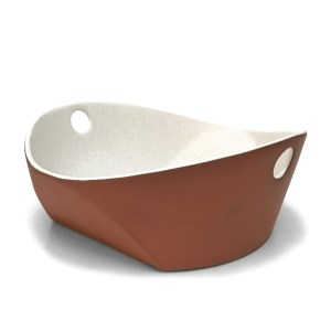 matte white serving bowl with handles