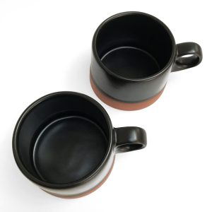 clay black low cup mugs