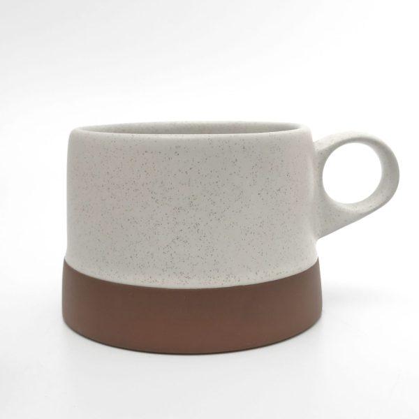 clay white low cup mug