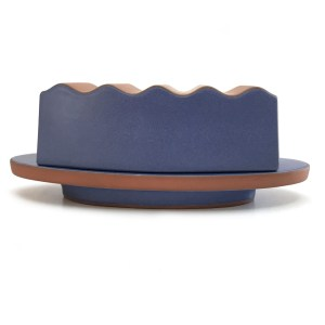 Matte blue clay butter dish