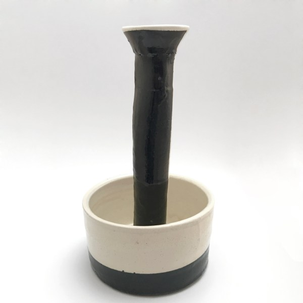 Tall Slender Vase with Round Base, Black and White