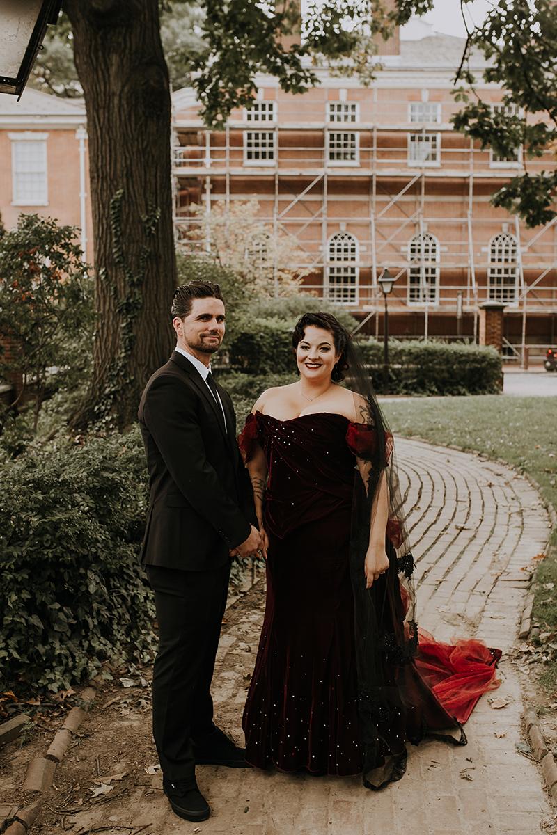 red wedding dress | philadelphia wedding | moody film wedding photography | travel wedding photographer