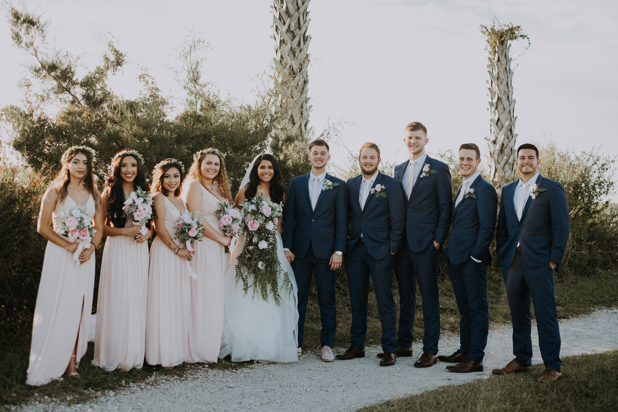 boho bridal party | bridal party portraits | bridesmaid portraits | groomsmen portraits | outdoor Florida wedding | sarasota wedding