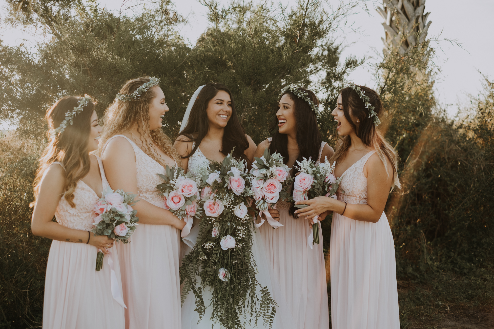 boho bridal party | bridal party portraits | bridesmaid portraits | outdoor Florida wedding | sarasota wedding