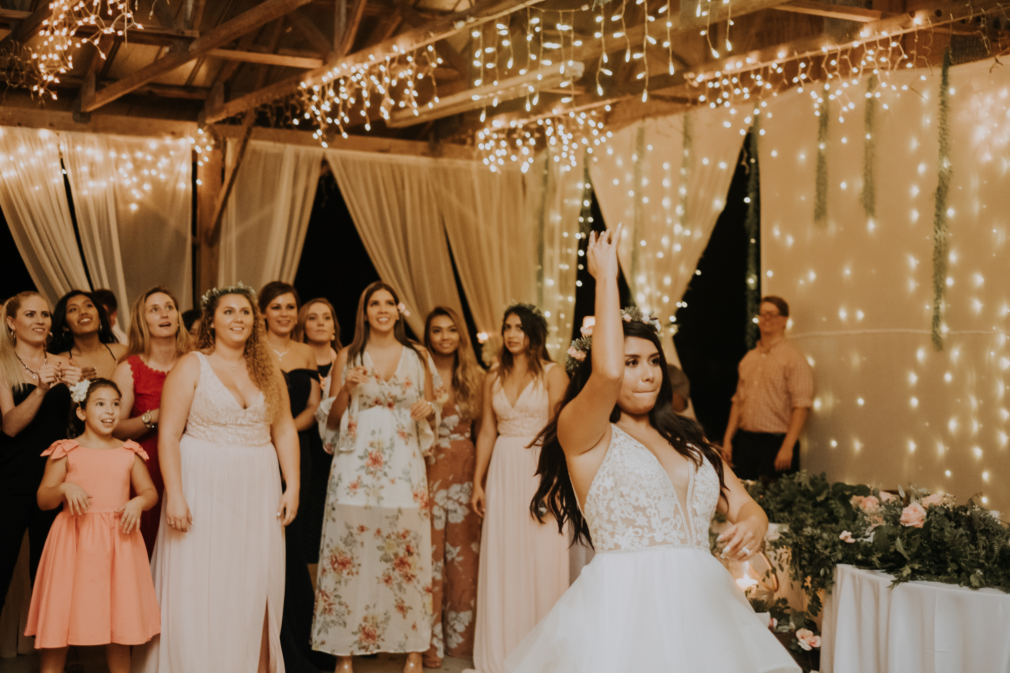 bouquet toss | boho bouquet toss | boho wedding reception | Florida wedding | romantic sarasota wedding