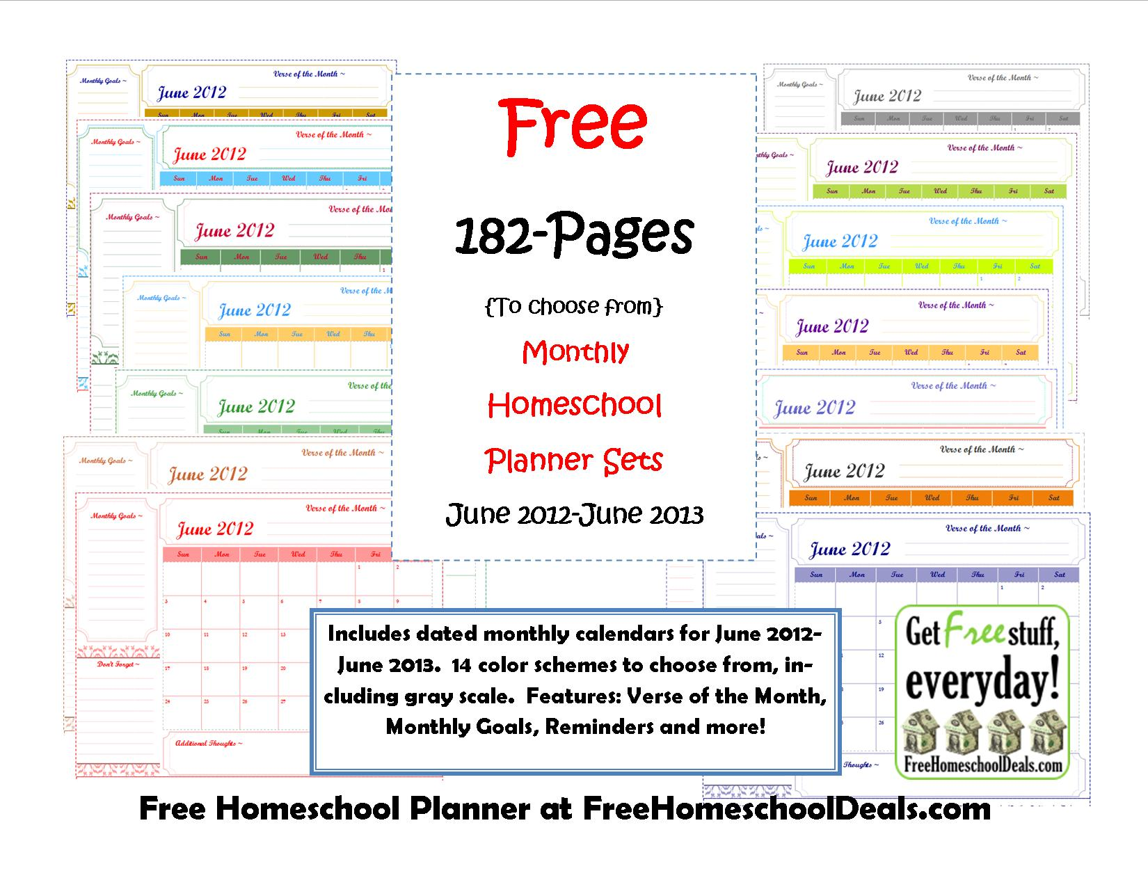 Free Monthly Homeschool Planner Sets 182 Pages