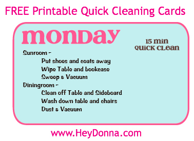 FREE Printable Cleaning Cards