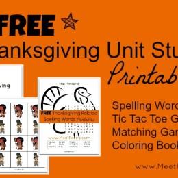 Free Thanksgiving Unit Study Lesson Plan & Printables