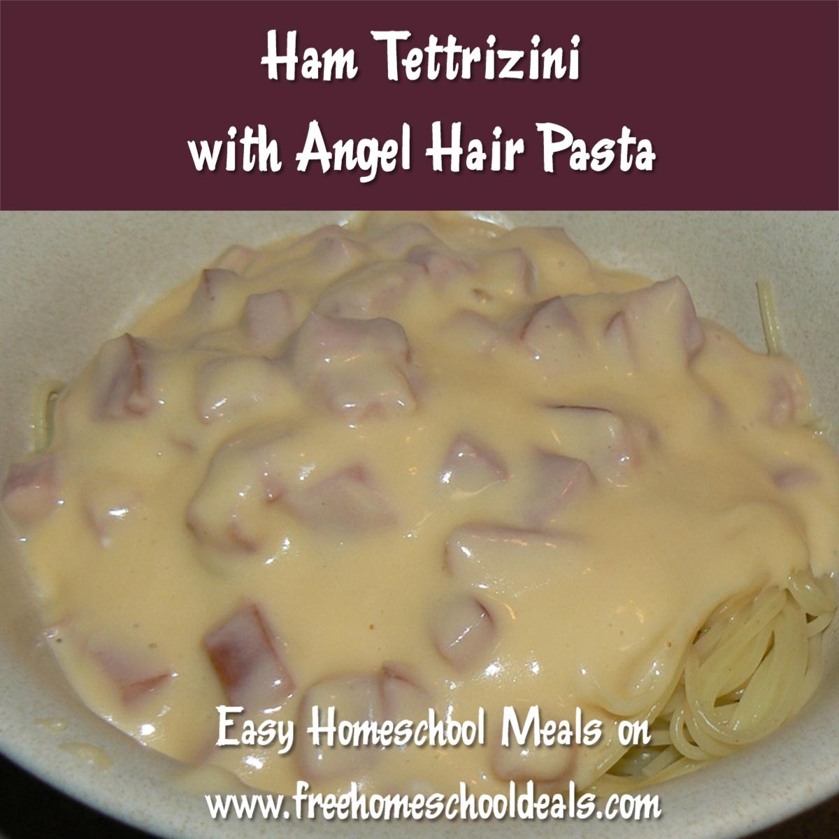 Ham Tettrizini With Angel Hair Pasta