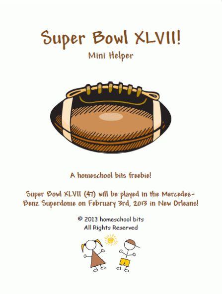 Free  Super Bowl XLVII (47) Printable Learning Set