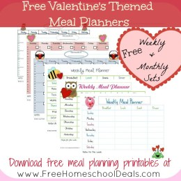 Free Monthly and Weekly Meal Planners: Valentine's Themed for February
