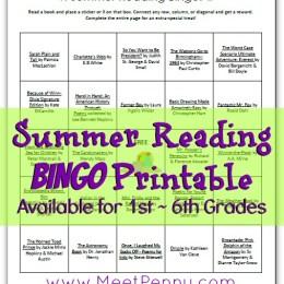 Free Summer Reading Bingo Printable for 1st-6th Grades