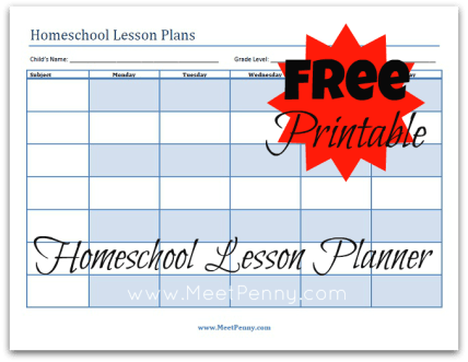 free homeschool lesson planner template