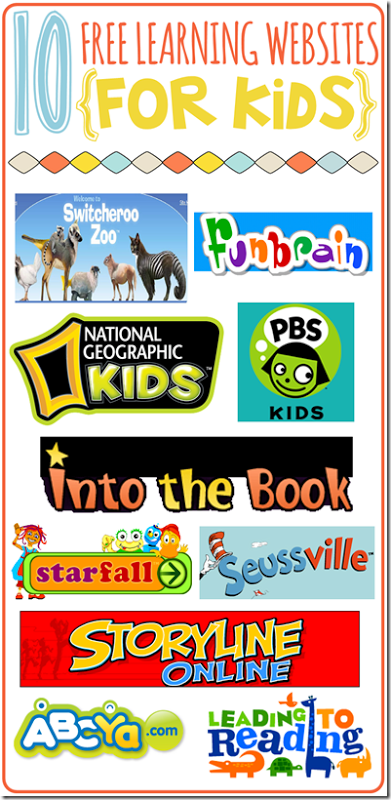 10 Free Learning Websites for Kids with Free Printable Listing
