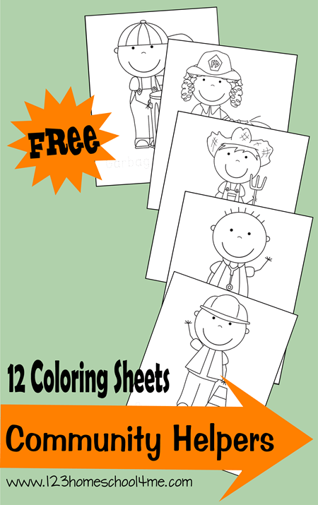 12 Free Community Helpers Coloring Sheets | Free Homeschool Deals ©