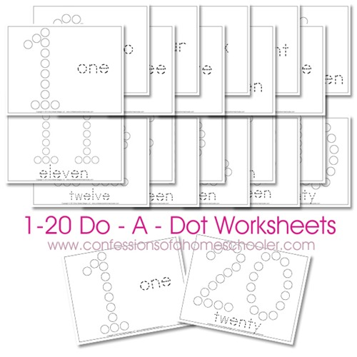 Free 1-20 Do-A-Dot Number Printable Worksheets | Free Homeschool Deals ©