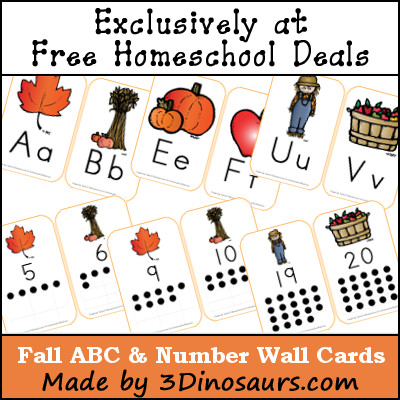Fall ABC & Number Wall Cards made by 3 Dinosaurs