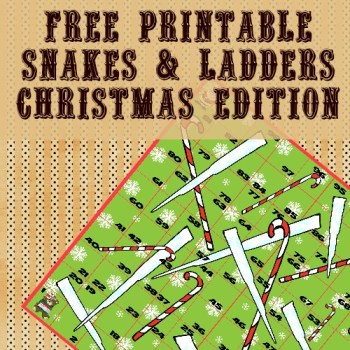 Free Christmas Snakes & Ladders Printable Game | Free Homeschool Deals ©