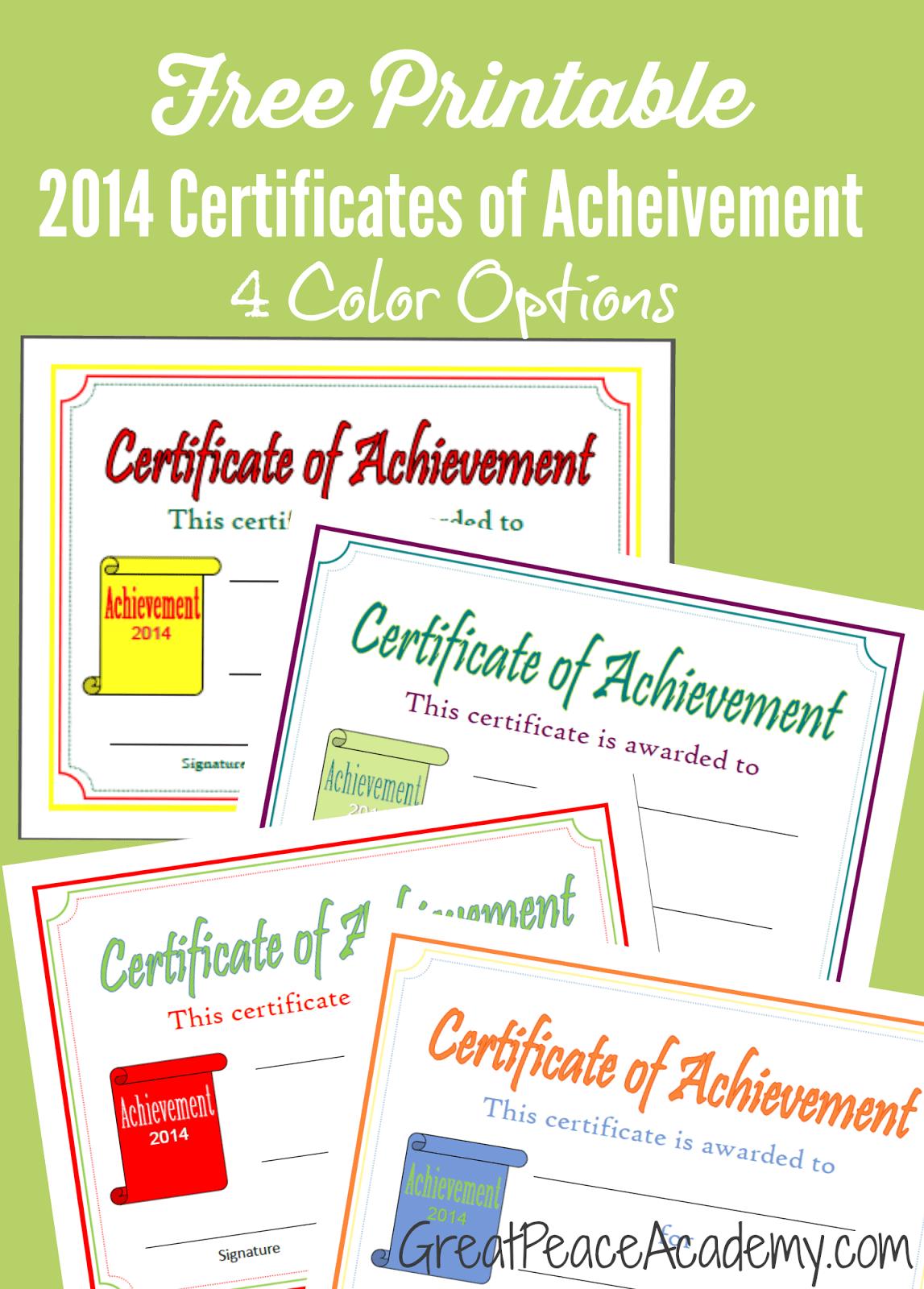 Free Homeschool Award Printable Certificates