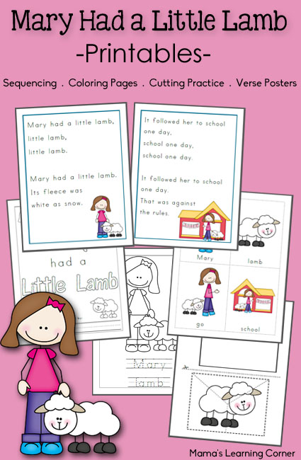 FREE Printable Activities Mary Had A Little Lamb