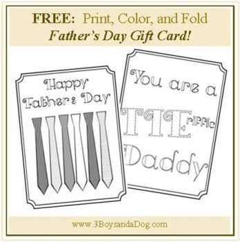 Just Print Fold And Color This Great Fathers Day Card From 3 Boys A Dog She Includes Instructions For Easy Craft Too