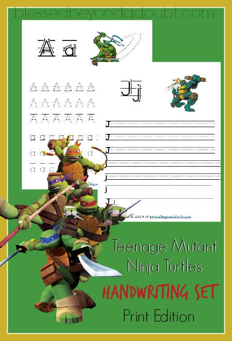 Free Teenage Mutant Ninja Turtles Handwriting Printables
