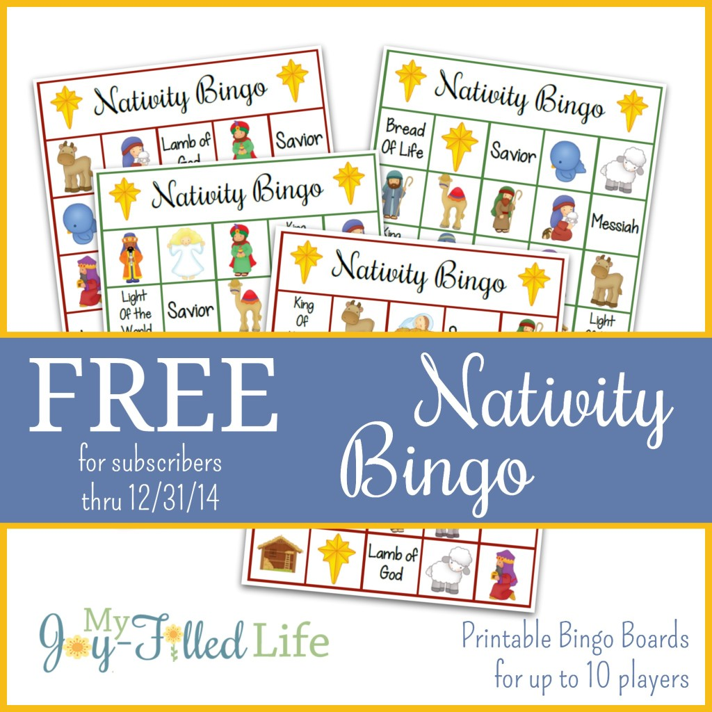 Free Nativity Bingo Game Subscriber Freebie