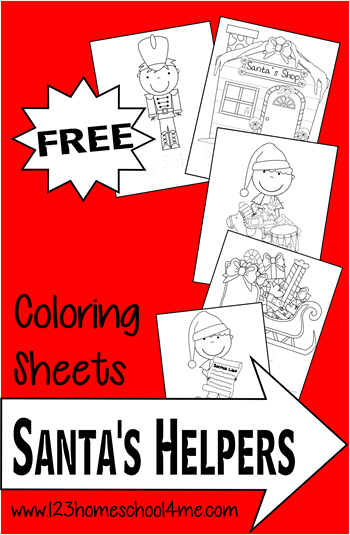 123 homeschool 4 me has a free santas helpers coloring sheets printable pack coloring sheets are so good for kids as they work on strengthening those fine