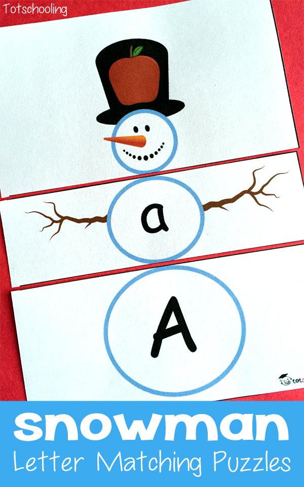 FREE Printable Snowman Letter Matching Puzzles Free