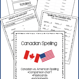 FREE Canadian Spelling Words Pack
