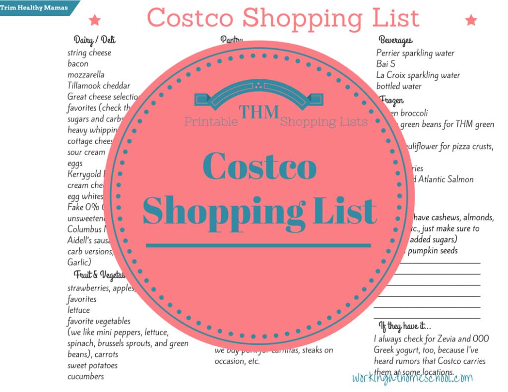 Free Costco Shopping List For Trim Healthy Mama