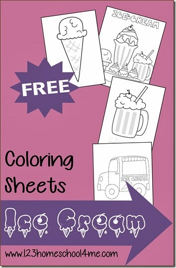123 homeschool 4 me has a free set of ice cream themed coloring sheets
