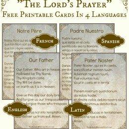 """FREE """"The Lord's Prayer"""" in 4 Languages Printables"""