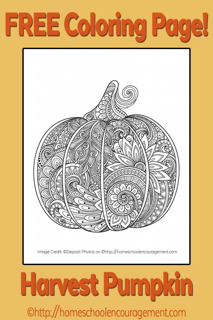 FREE Pumpkin Harvest Themed Coloring Page Free
