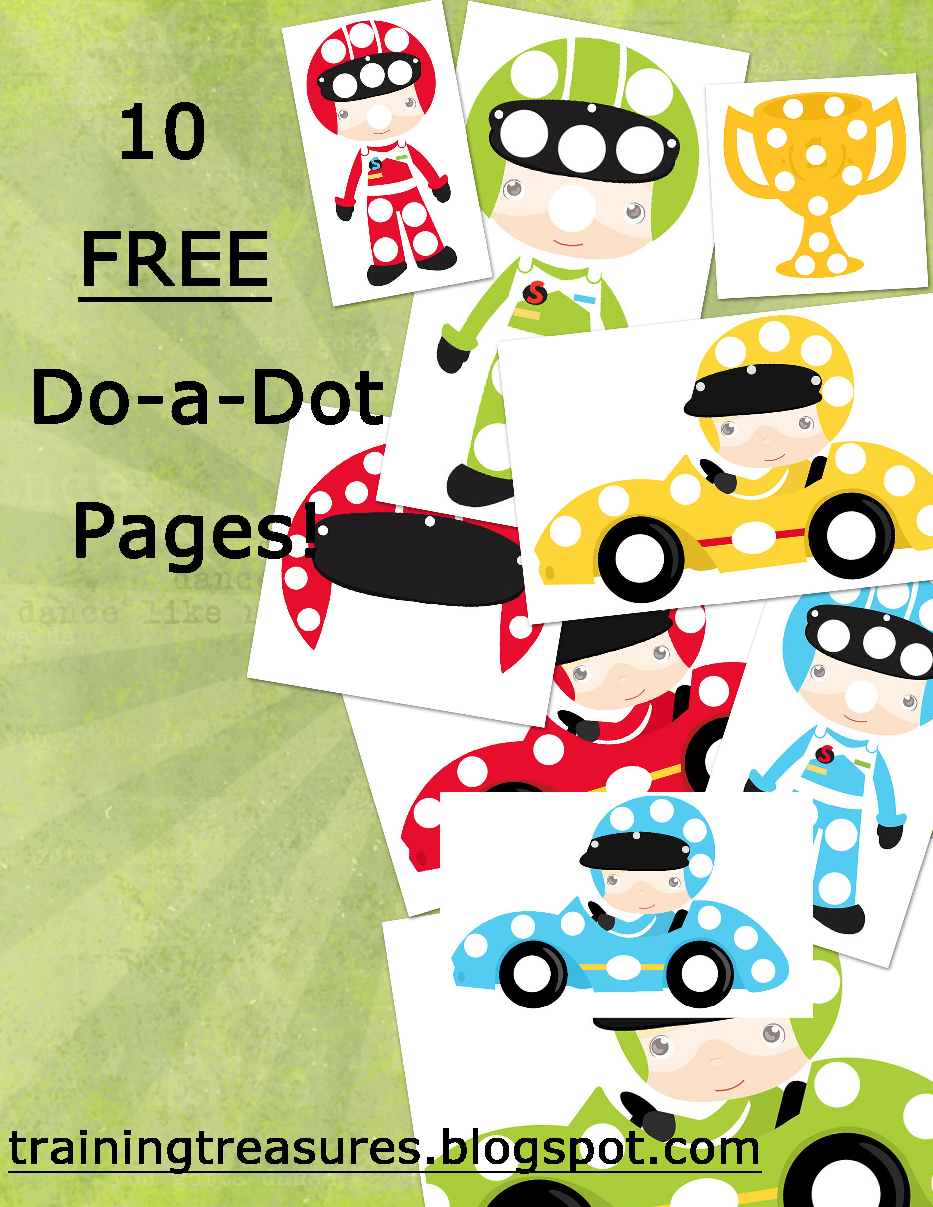 Free Race Car Themed Dot A Dot Pages
