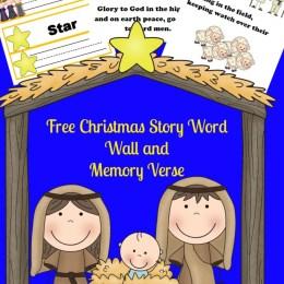 FREE Christmas Bible Verse Word Wall and Printables