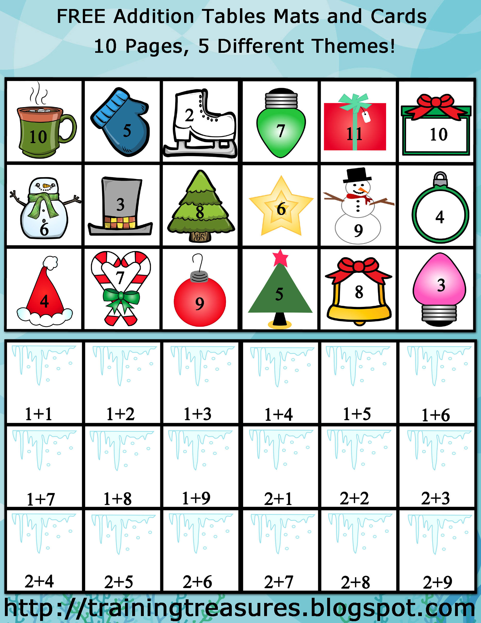 Free Winter And Christmas Themed Addition Mats