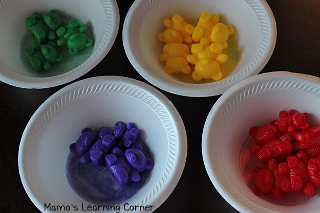 Sort Bear Counters by Color in Bowls