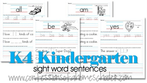 FREE K Sight Words Pack