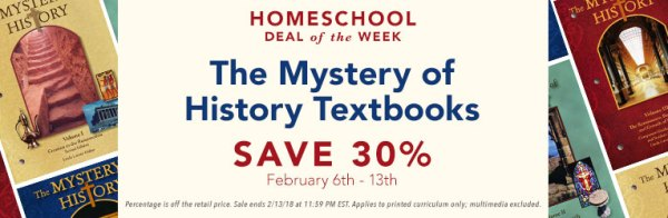 30% Off Mystery of History Textbooks