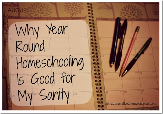 Why Year Round Homeschooling is Good for My Sanity