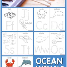 FREE Q-Tip Ocean Animal Printables