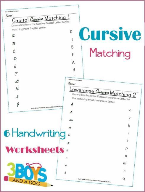 FREE Cursive Matching Worksheets