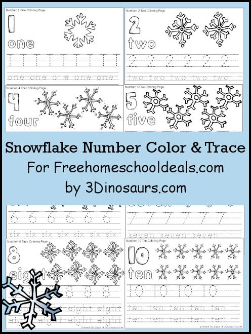 FREE SNOWFLAKE NUMBER COLOR & TRACE PRINTABLES (INSTANT DOWNLOAD ...