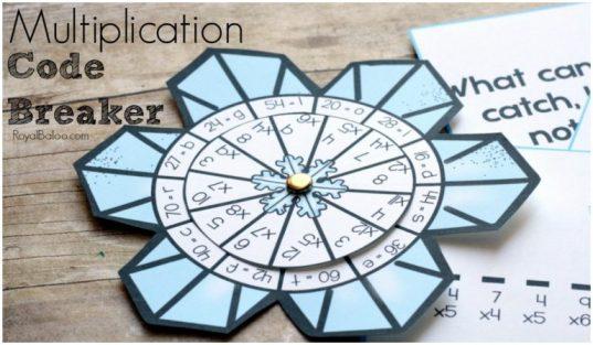 Free Multiplication Snowflake Code Breaker Printable