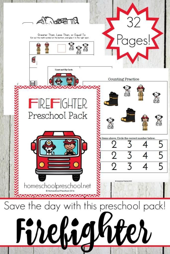 Free Firefighter Preschool Printable Learning Pack   Free ...