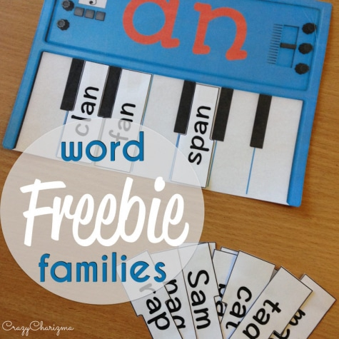 Free Word Families Piano Printables