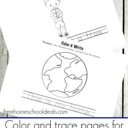 FREE EARTH DAY COLOR AND TRACE PRESCHOOL PACK (Instant Download)