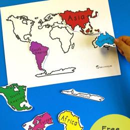 Free Continents Matching Printable