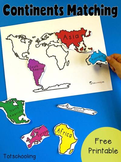 Free Continent Matching Printable